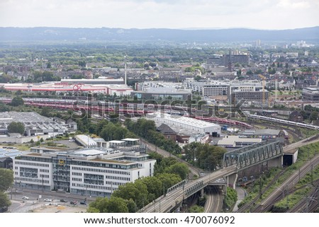 Cologne, Germany - August 10, 2016: Train Depot. A depot close to the centre holds many different kinds of trains waiting to come into service for the day.  #470076092