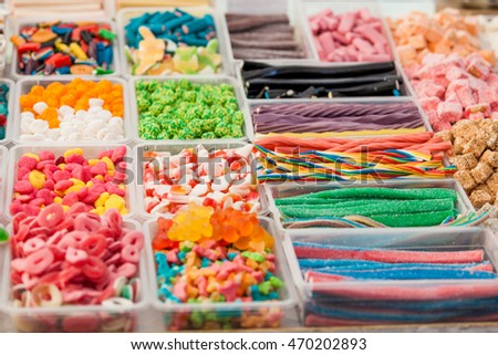 colorful candies  background. colorful fruit bonbon. jelly candies #470202893