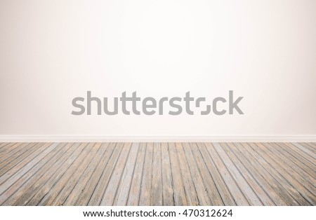 hardwood floor with white wall background. wood floor isolated. empty white wall backdrop: Isolated wooden floor on white color toned background. #470312624