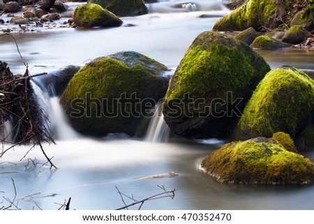 Small river, Namdaru valks,with stones in latvia #470352470