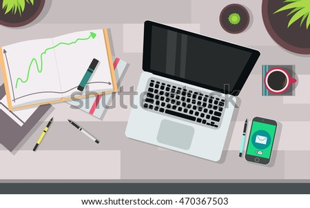 Vector workplace with laptop #470367503