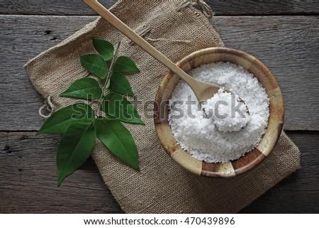 sea salt on wooden background #470439896