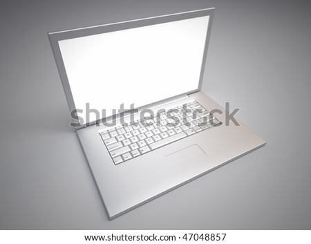 Top view of silver computer laptop - 3d render illustration #47048857