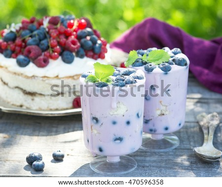 Healthy blueberry dessert with yoghurt and sponge cake in glasses, outdoors for a healthy breakfast #470596358