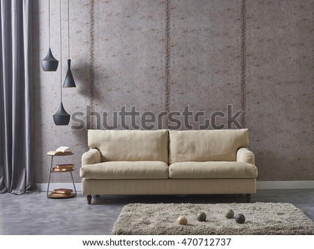 modern living room sofa and armchair with vase of grass #470712737