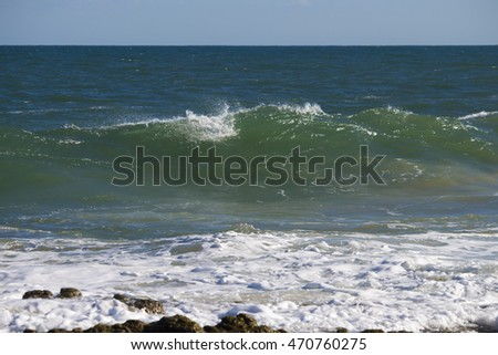 Pretty scenic view of  the  Indian Ocean waves breaking onto the rocks   at  Ocean Beach Bunbury Western Australia on a fine  morning in late winter  is fascinating to watch. #470760275