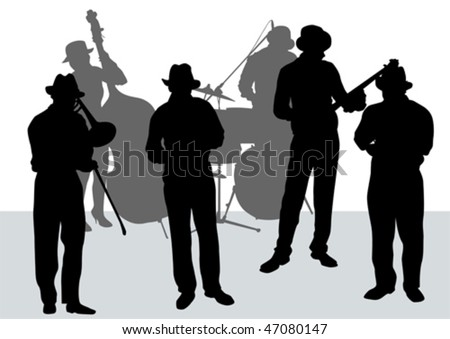 Vector drawing music jazz orchestra. Artists on stage #47080147