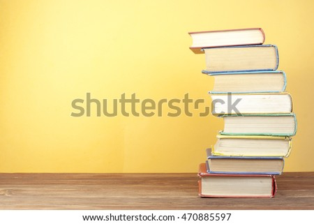 Stack of colorful books. Education background. Back to school. Copy space for text. #470885597