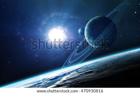 Abstract scientific background - planets in space, nebula and stars. Elements of this image furnished by NASA nasa.gov #470930816