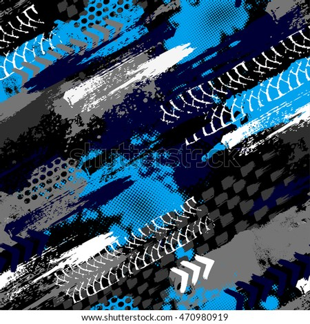 Abstract seamless grunge pattern for boy. Urban style modern background with trace of tire, lightning, dots, stars and spray elements. Drive and speed modern creative wallpaper for guys.