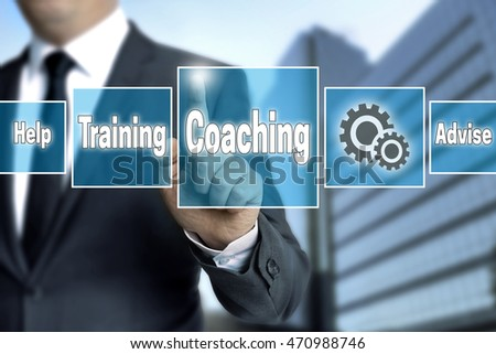 coaching touchscreen is operated by businessman. #470988746