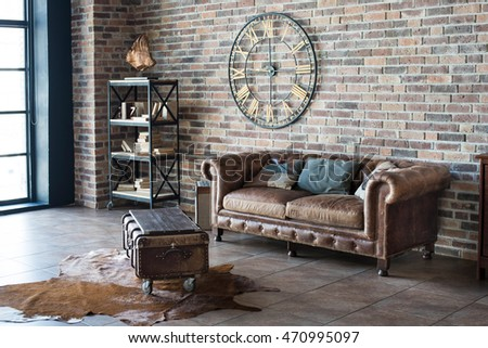 Vintage interior with leather sofa #470995097