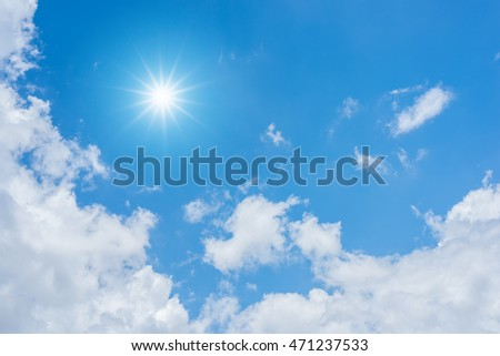 Blue sky with clouds and sun reflection. looking up view #471237533