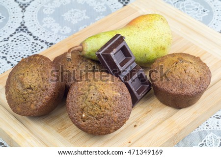 Homemade muffin with Pear and chocolate #471349169