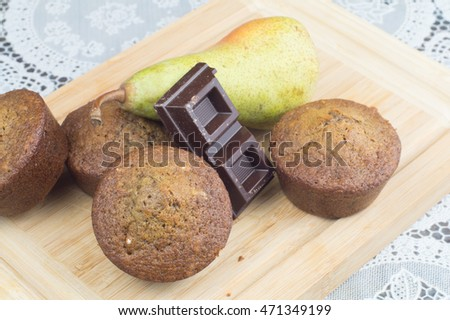 Homemade muffin with Pear and chocolate #471349199