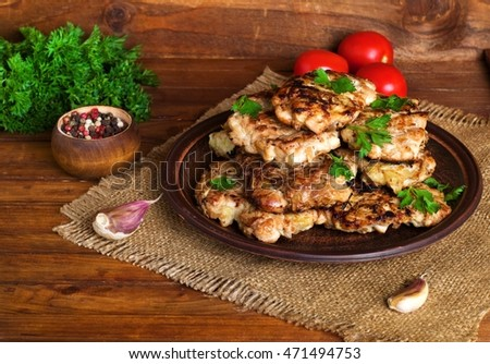 homemade cutlets in a rustic style,selective focus #471494753