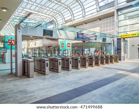 TURIN, ITALY - MARCH 11, 2014: Passengers in the new Torino Porta Susa main railway and subway station (HDR) #471499688