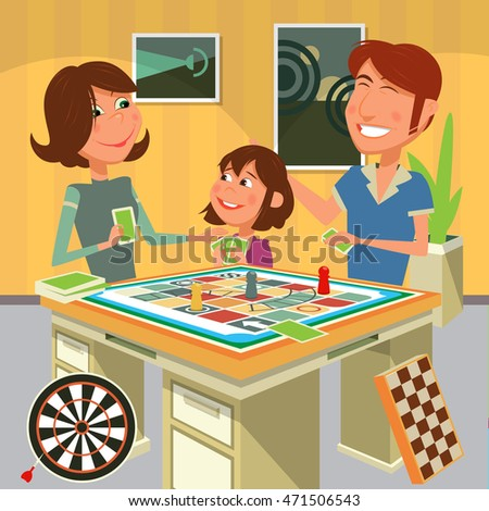 Family playing a board game. Cartoon colorful raster illustration