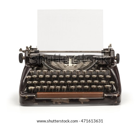 Old vintage typewriter and a blank sheet of paper inserted. Isolated on white background.   #471613631