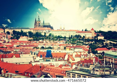 Prague. View of Hradcany with St. Vitus Cathedral and Castle of Prague. Vintage picture. #471665072
