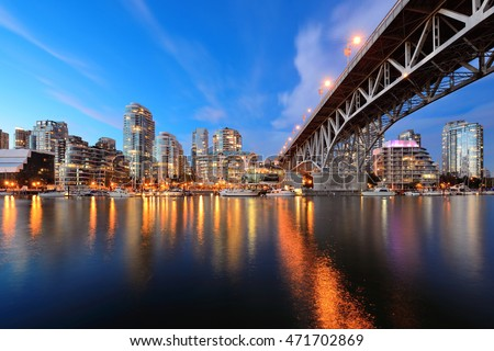 Vancouver False Creek at night with bridge and boat. #471702869