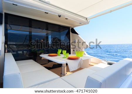 lunch on motor yacht, Table setting at a luxury yacht. #471741020