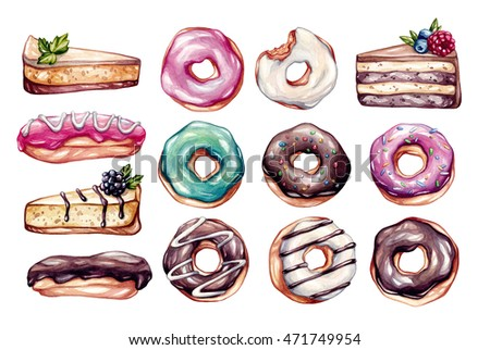 Sweets set. Big watercolor set with isolated elements. Eclairs, donuts, cheese cake, cake with berries. Clip-art, watercolor illustrations.