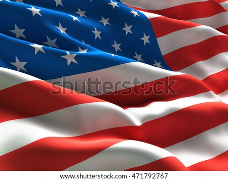 Flag of USA Waving in the Wind. CLose Up. 3d illustration #471792767