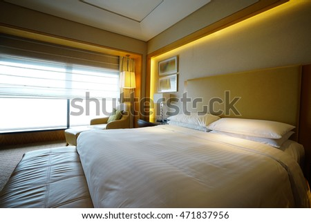 Hotel room or bedroom Interior. hotel concept. #471837956