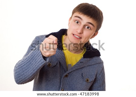 beautiful teenager and is angry at white background #47183998