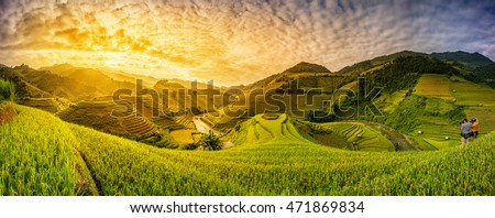 Green Rice fields on terraced in Muchangchai, Vietnam Rice fields prepare the harvest at Northwest Vietnam.Vietnam landscapes. Royalty-Free Stock Photo #471869834