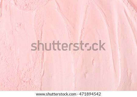 Closeup of pink ice cream. Pink ice cream texture.
