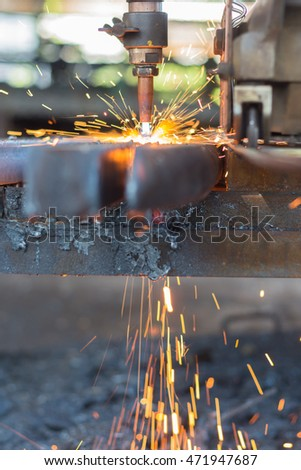 Gas cutting steel and fire sparks, Background of industry steel. #471947687