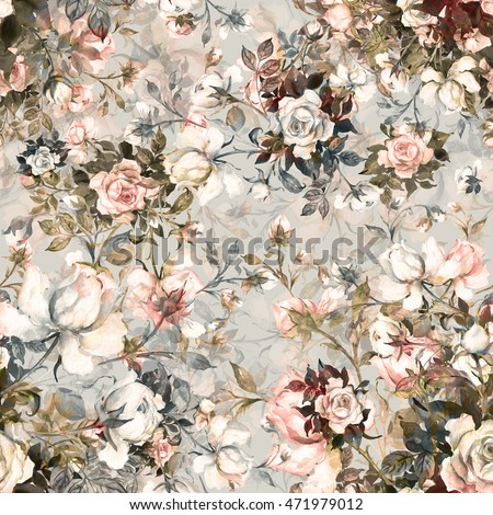 Watercolor seamless pattern bouquet of roses in bud F. Beautiful pattern for decoration and design. Trendy print. Exquisite pattern of watercolor sketches of the flower. Toned.