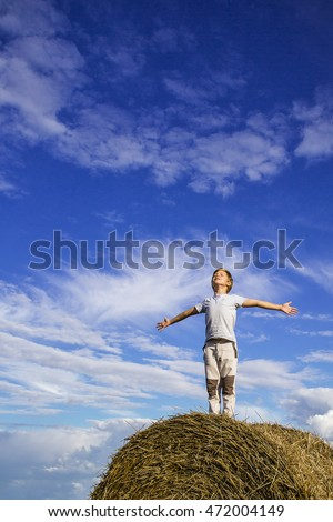 Smiling boy on a haystack on the background of blue sky #472004149