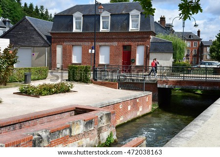 Bernay, France - august 11 2016 : the picturesque city in summer #472038163