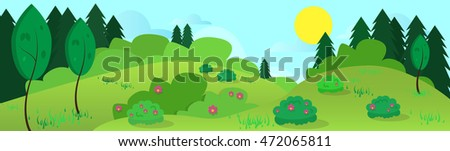 Summer Landscape Road Blue Cloud Sky With Sun Green Grass Forest Flat Design Vector Illustration #472065811