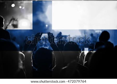live music concert with blending Finland flag on fans #472079764