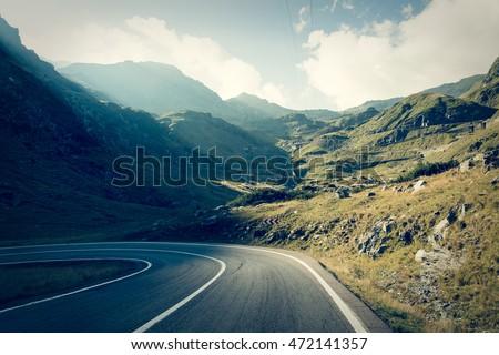 Transfagarasan highway road in muntains - Transylvania, Romania #472141357