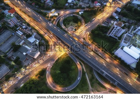Aerial view of Nonthaburi viaduct before morninjg #472163164