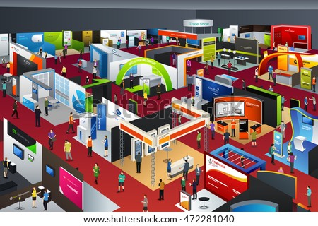 A vector illustration of people looking at an exhibition booths Royalty-Free Stock Photo #472281040
