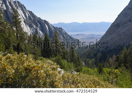 Whitney Portal Valley as seen from the trail leading to Lone Pine Lake, Eastern Sierra, California #472314529