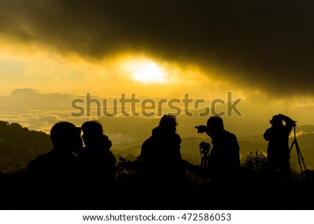 beautiful morning with photographers  at Doi Inthanon National Park. thailand #472586053