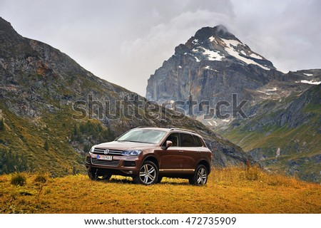 Rhemes Notre Dame, Valle d'Aosta, Italy - July 25, 2016: Volkswagen Touareg ??.  Photo captured in the alpine mountains, view of Granta Parey. #472735909