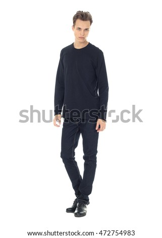 Handsome casual man isolated over a white  #472754983
