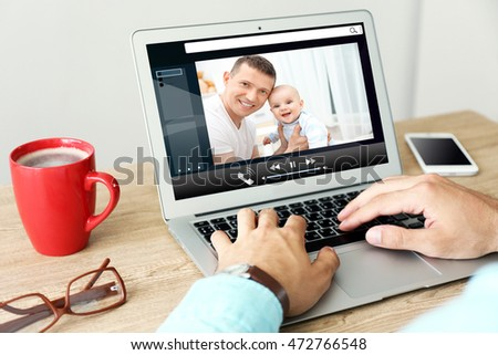 Video call and chat concept. Modern communication technology. Man video conferencing on laptop. #472766548