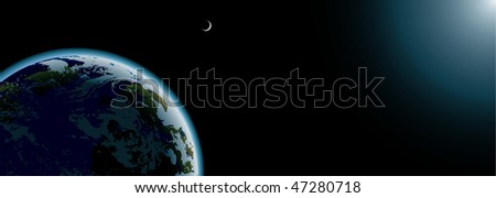 planet Earth and moon in space banner #47280718
