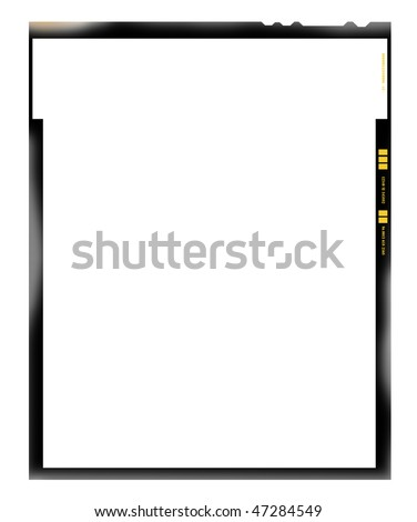 large format film sheet negative, 4 x 5 inch, picture frame, light incidence,with free copy space, isolated on white background