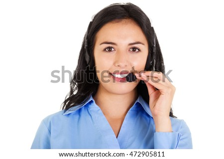 Stock image of female call center operator isolated on white background #472905811