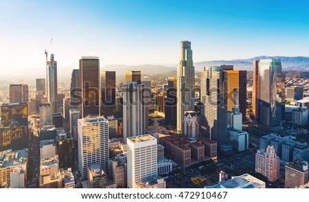 Aerial view of a Downtown Los Angeles at sunset Royalty-Free Stock Photo #472910467